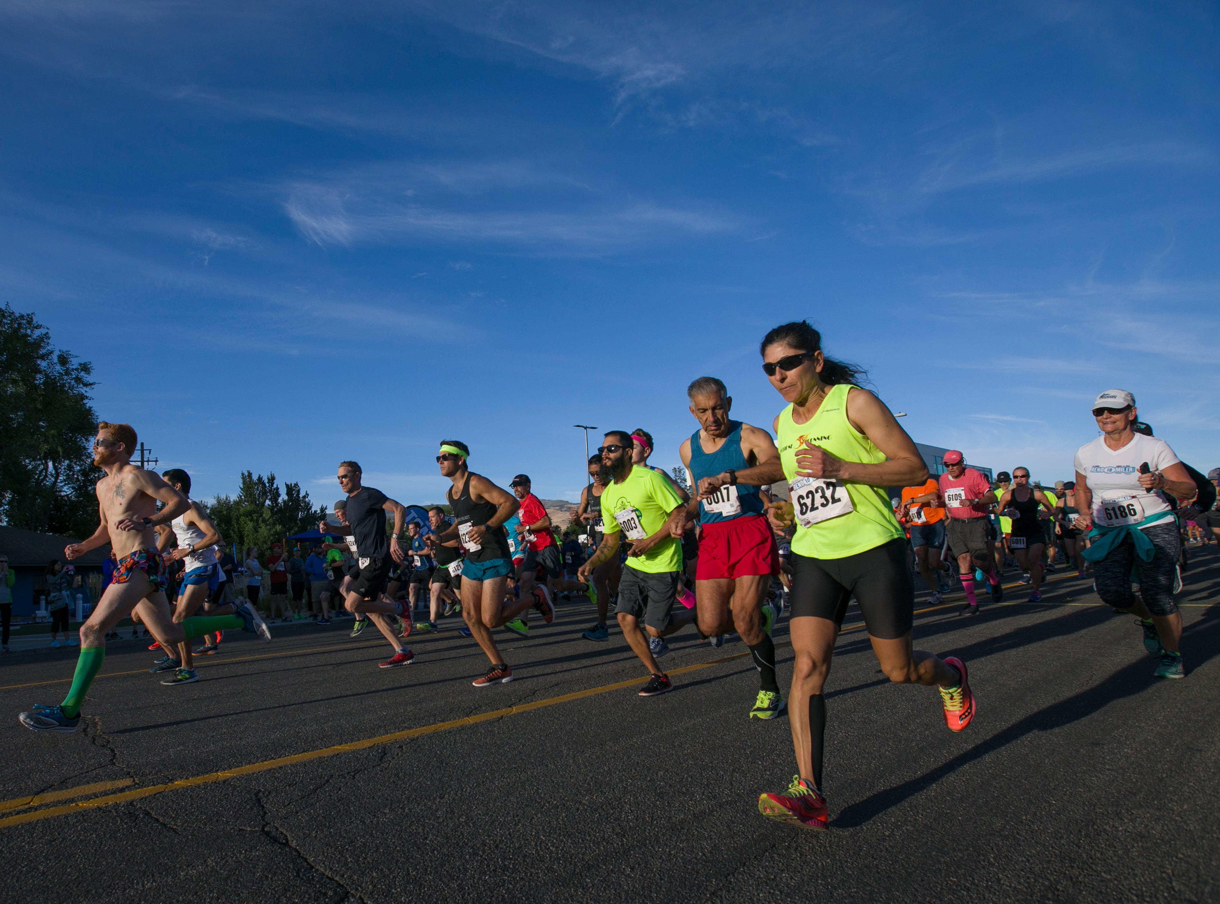 Runners start the Reno 10 Miler race during the 50th Annual Journal Jog in Reno, Nevada on Sunday, September 9, 2018.