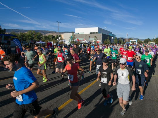 Runners start the 50th Annual Journal Jog in Reno, Nevada on Sunday.