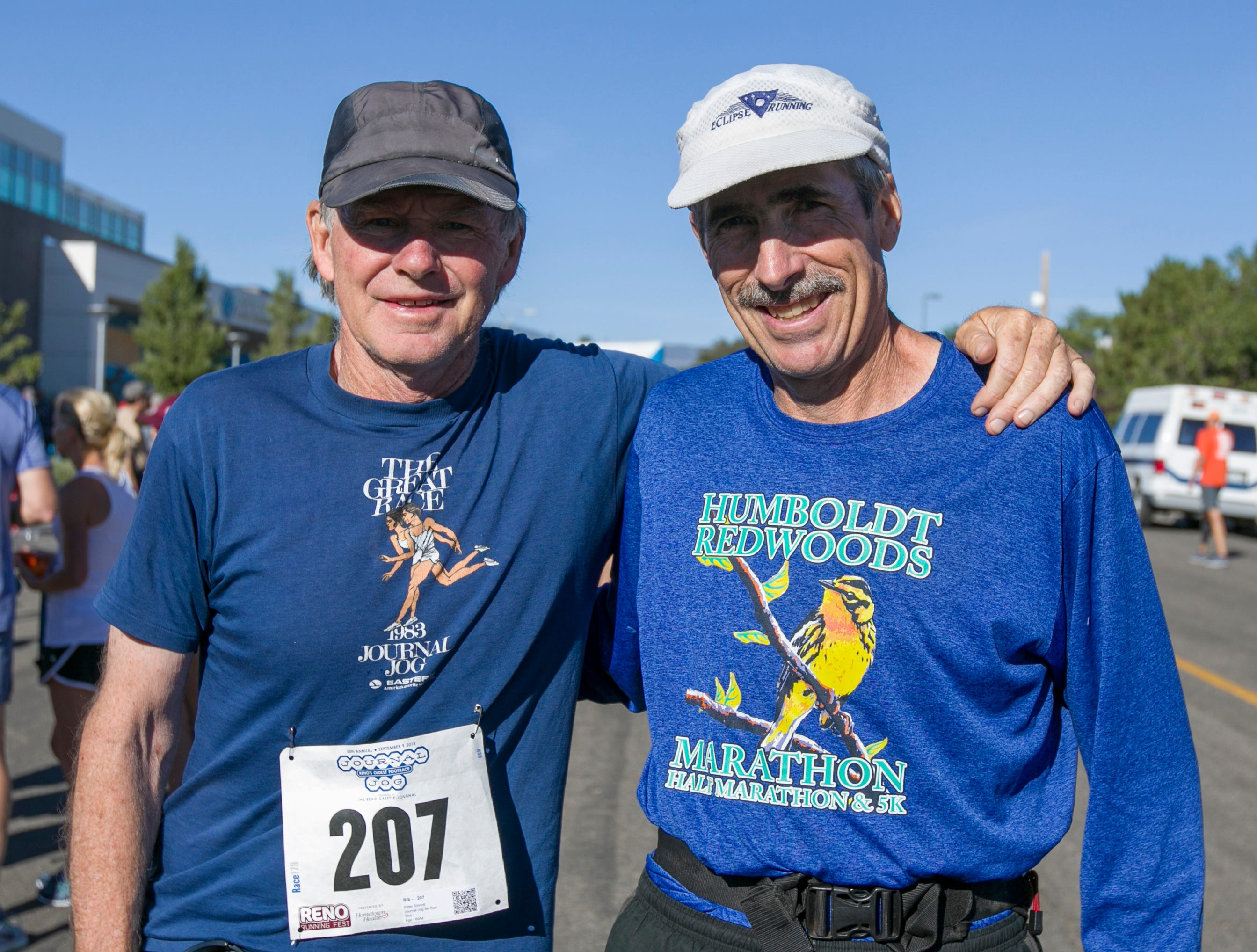 Pete Sinnott and Alan Dehlinger during the 50th Annual Journal Jog in Reno, Nevada on Sunday, September 9, 2018.