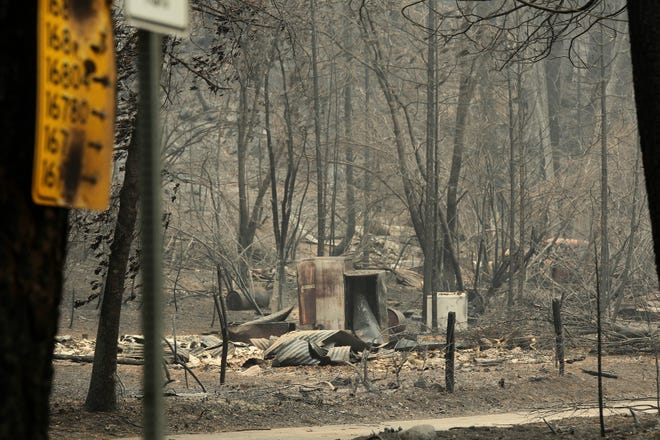 The damage from the Delta Fire as seen on a property on Lamoine Road. (Hung T. Vu/ Special to the Record Searchlight)