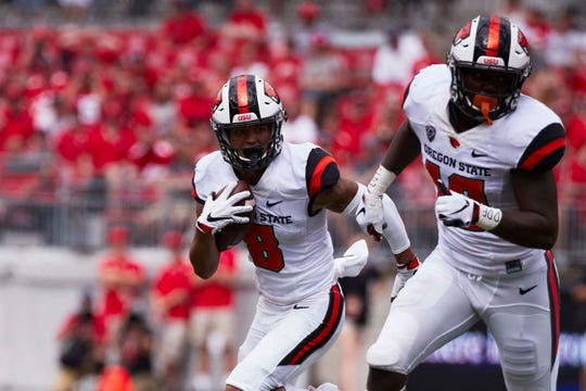 Oregon State wide receiver Trevon Bradford has three touchdown receptions in the first two games. Mandatory Credit: Rick Osentoski-USA TODAY Sports