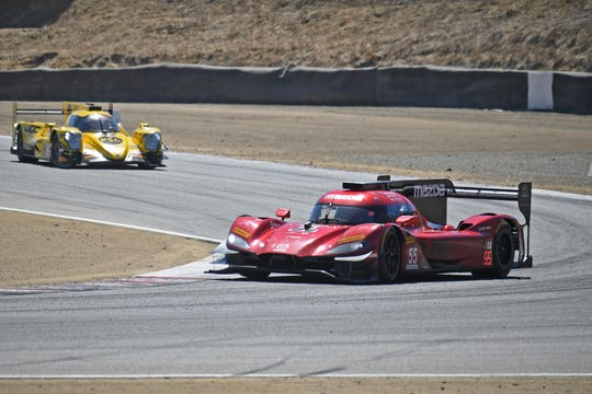 Monterey native and Salinas high school alum Jonathan Bomarito (55) was in the lead of the Continental Tire Monterey Grand Prix but a costly spin by co-driver Harry Tincknell cost them the victory.