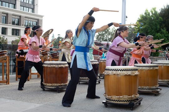 Taiko drumming during the 13th anniversary of 1st Fridays in Downtown Salinas.