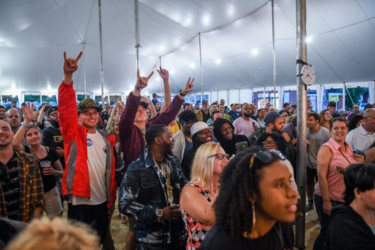 The crowds cheers and yells as Rahzel performs at the National Folk Festival in Salisbury on Saturday, Sept. 8.