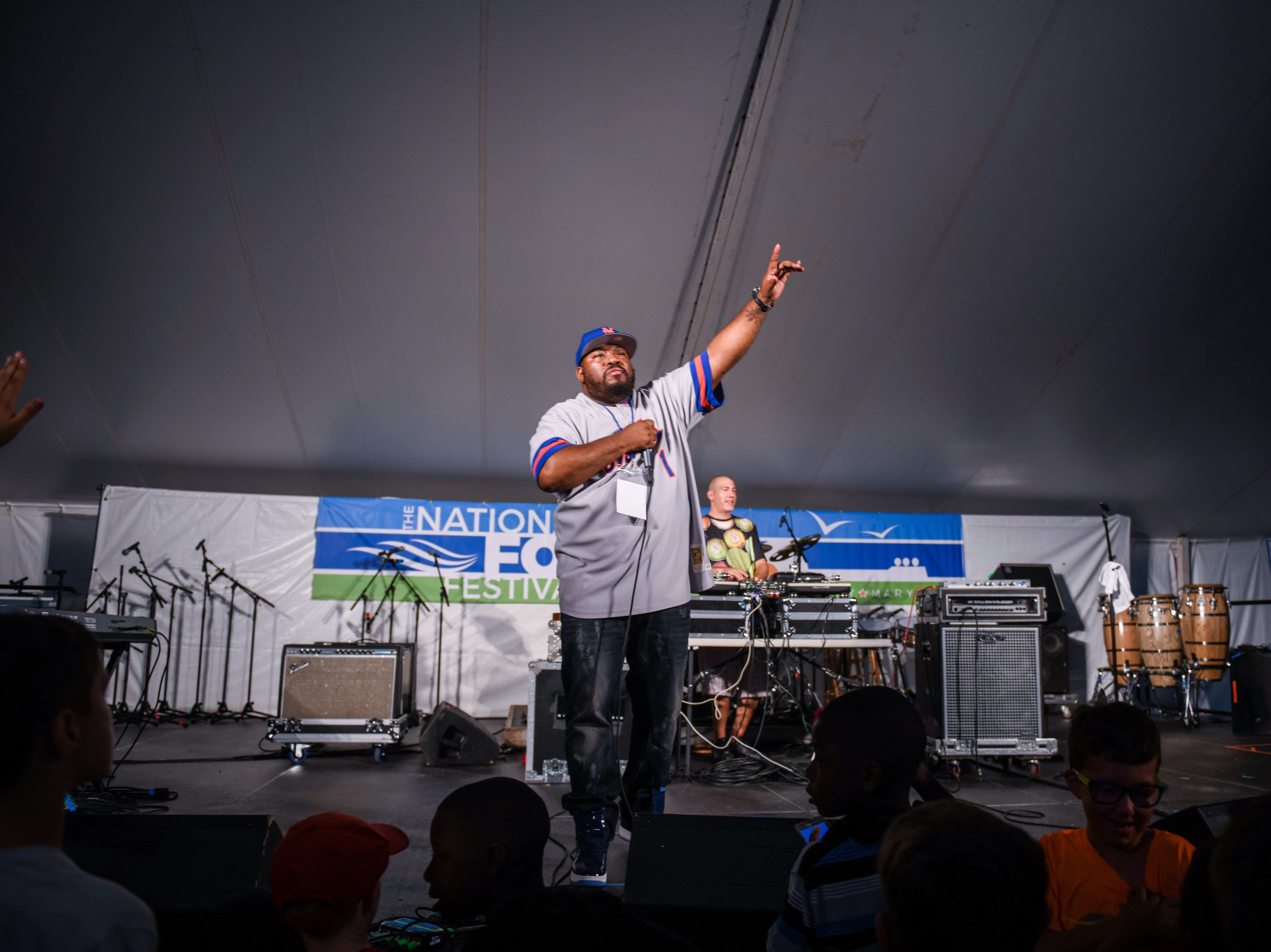 Rahzel performs at the National Folk Festival in Salisbury on Saturday, Sept. 8.