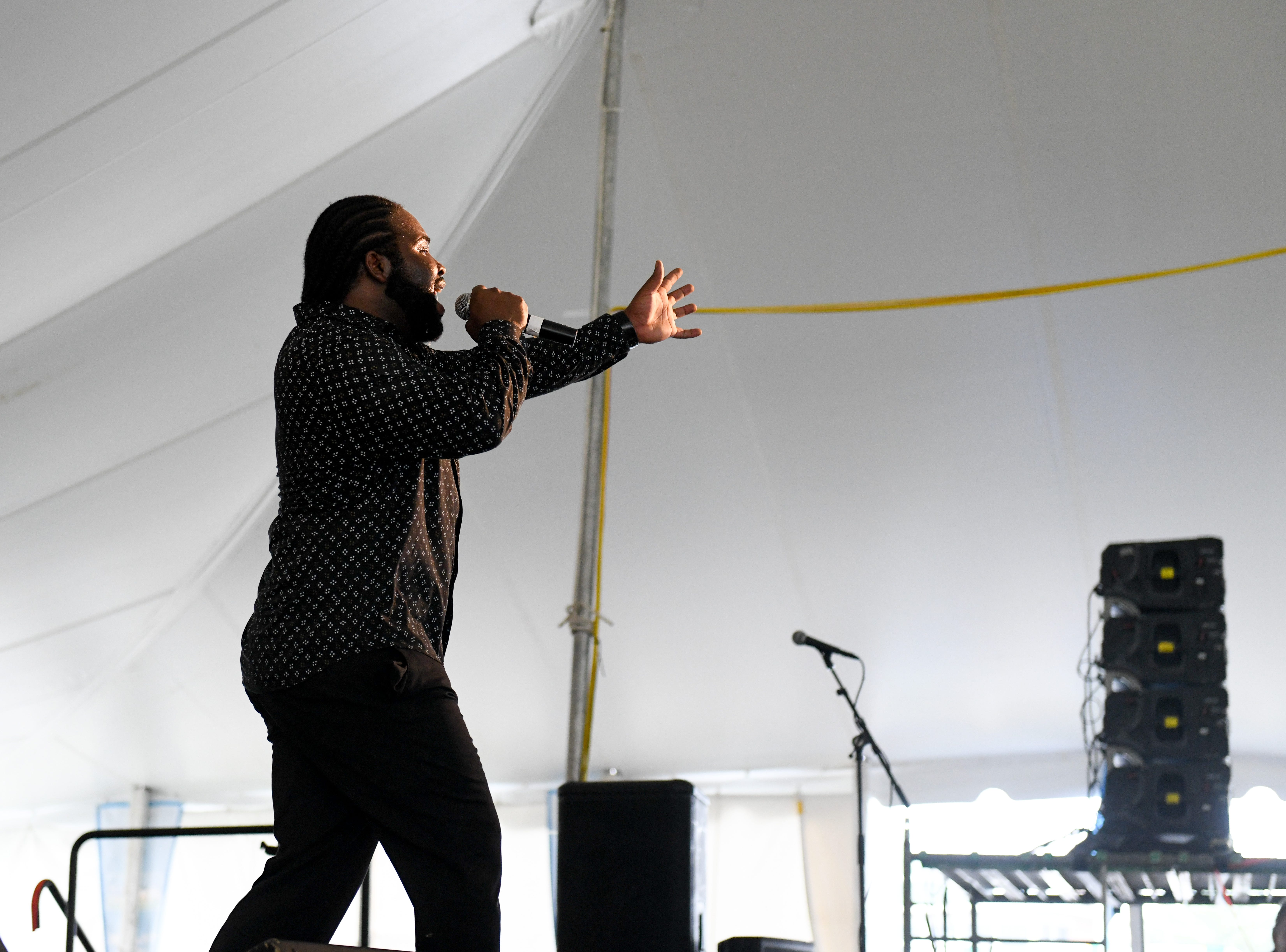 Marquise Knox performs at the National Folk Fest in Salisbury on Sunday, Sept. 9.