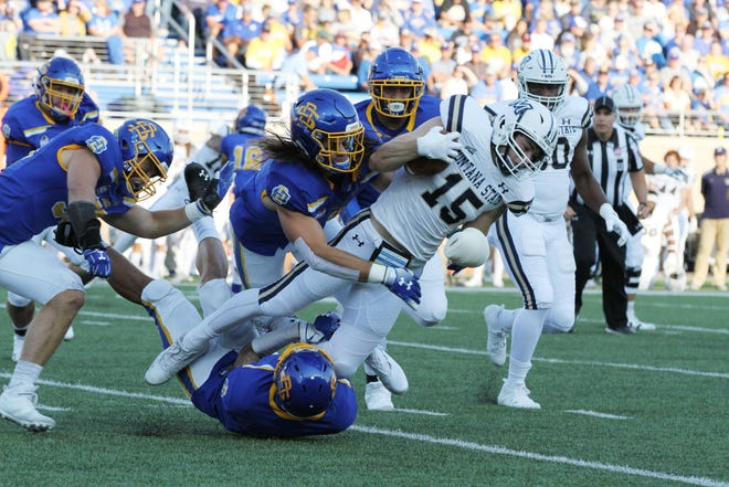 South Dakota State's Christian Rozeboom and Jordan Brown (bottom) coral Montana State's Troy Anderson (15) during the first quarter of the Jackrabbits' matchup against the Bobcats Saturday night at Dana J. Dykhouse Stadium in Brookings. Jason Salzman For The Argus Leader