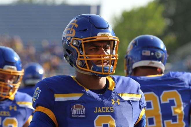 SDSU's Taryn Christion puts on his game face before the Jackrabbits' matchup against Montana State Saturday in Brookings. Jason Salzman For The Argus Leader