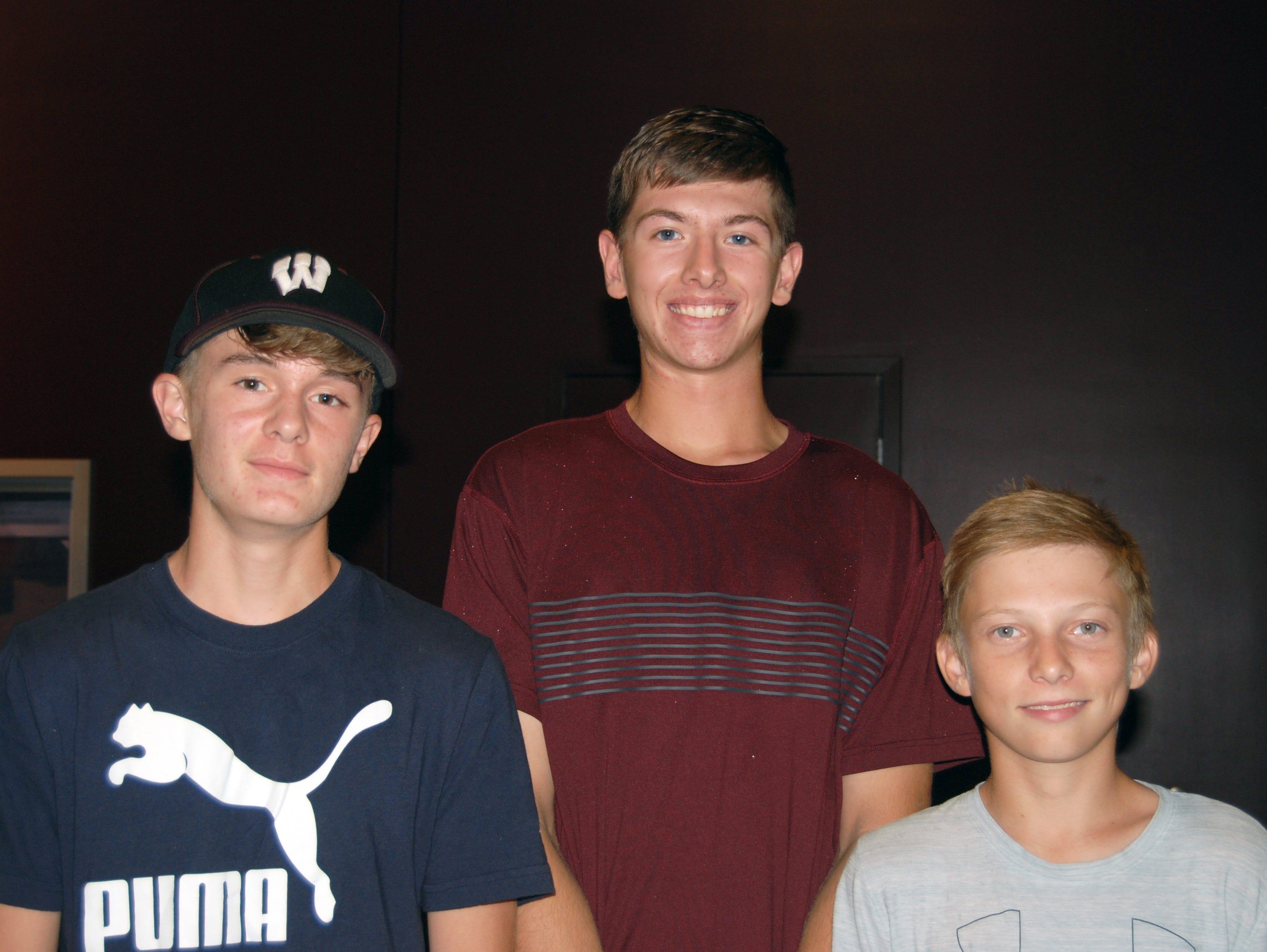 Chandler Welch, Ethan Foster and Brandon Packham
