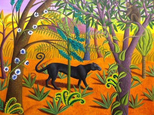 """Jane Troup, """"The Black Panther,"""" 2001, oil on canvas."""