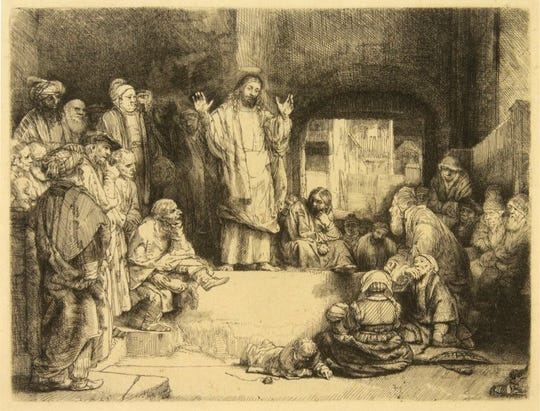 "Rembrandt van Rijn, ""Christ Preaching,"" ca. 1652, etching with drypoint."