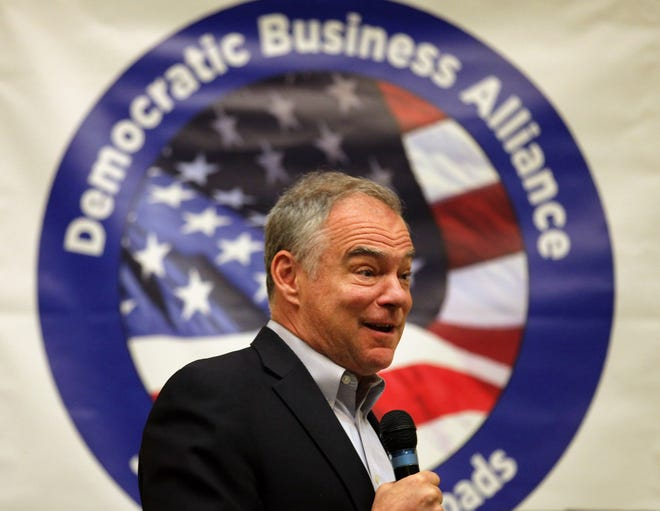 Sen. Tim Kaine, D-Va., speaks to the Democratic Business Alliance of South Hampton Roads on Aug. 31 in Virginia Beach.