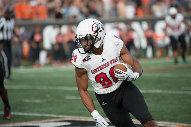 SUU's Frank Harris III runs in for a touchdown during the Southern Utah-Oregon State game on Sept. 8, 2018.