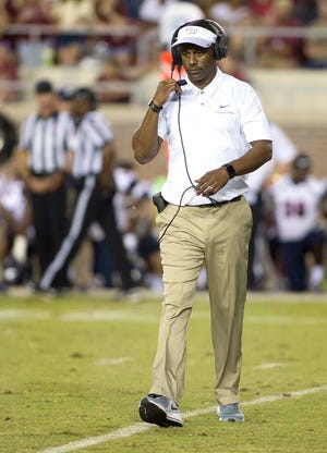 Florida State Seminoles head coach Willie Taggart coaches as the Florida State Seminoles host the Samford Bulldogs at Doak Campbell Stadium.