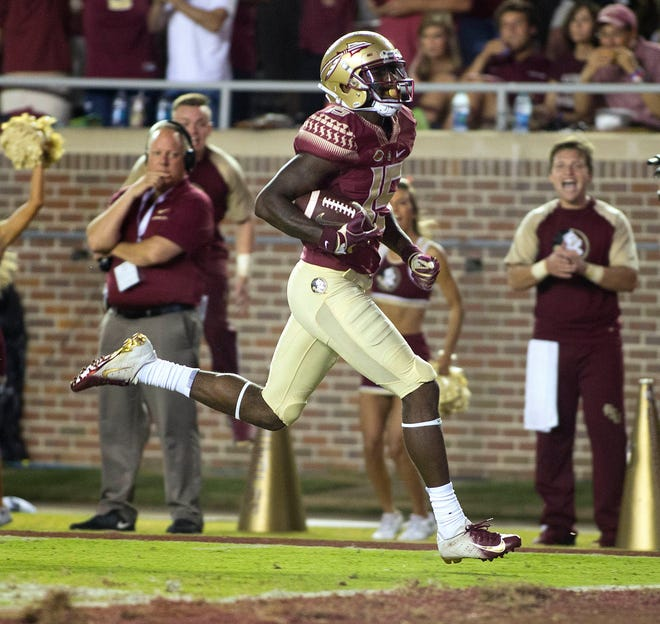 Florida State Seminoles wide receiver Tamorrion Terry (15) scores a touchdown as the Florida State Seminoles host the Samford Bulldogs at Doak Campbell Stadium.