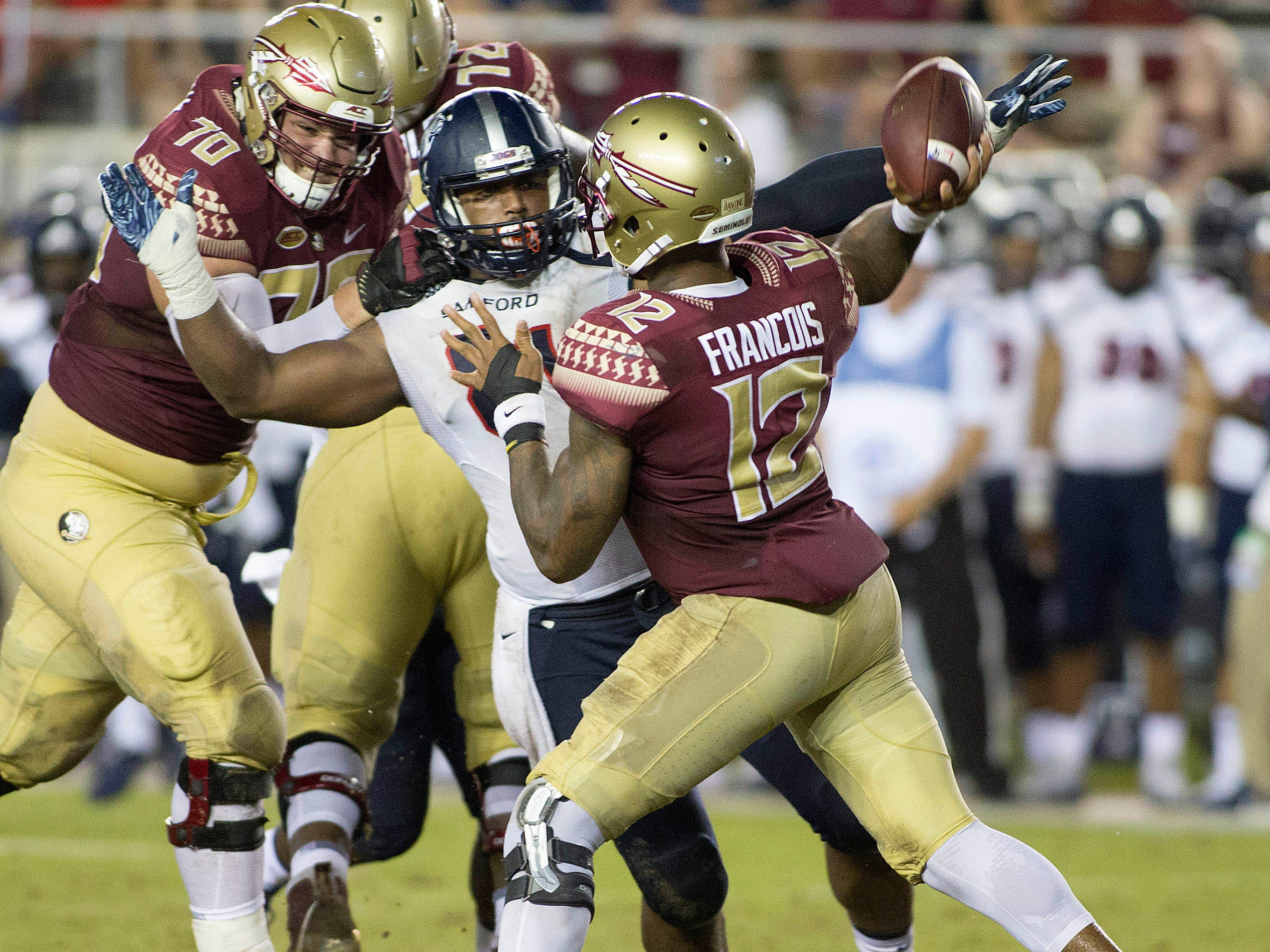 Florida State Seminoles quarterback Deondre Francois (12) throws during the second half of play as the Florida State Seminoles host the Samford Bulldogs at Doak Campbell Stadium. Florida State won 36-26.