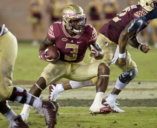 Florida State Seminoles running back Cam Akers (3) during the second half of play as the Florida State Seminoles host the Samford Bulldogs at Doak Campbell Stadium. Florida State won 36-26.