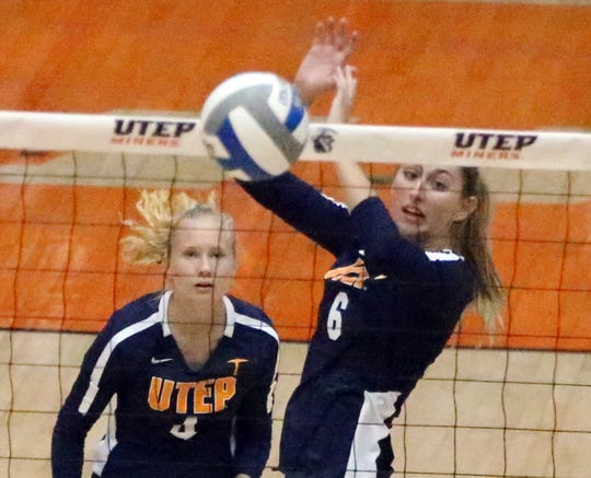 UTEP's Mallory Yost, 6, rejects a shot against NMSU on Sunday.