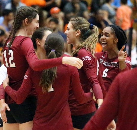 NMSU defeated UTEP in three sets Sunday in Memorial Gym.
