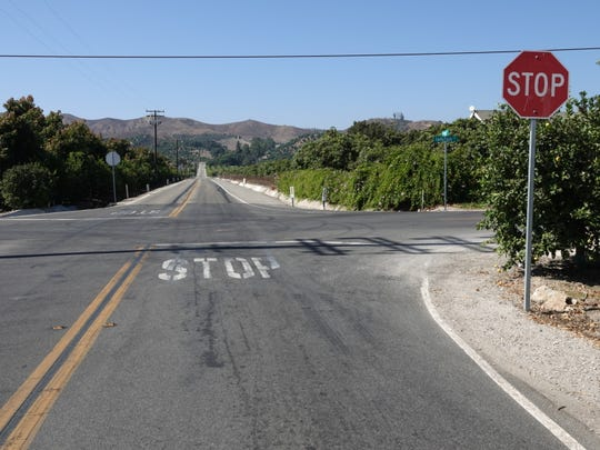 The intersection of Briggs Road and Santa Paula Street now has four-way stop signs guiding traffic at the intersection.