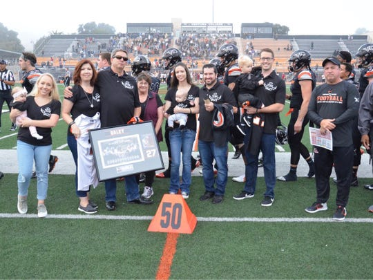 Brenden Daley's family served as honorary captains for the Ventura College football's 34-19 win over visiting Saddleback on Saturday at the VC Sportsplex.