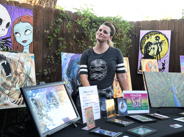 Visalia artist Sarah Welch sells her paintings at Pita Kabob