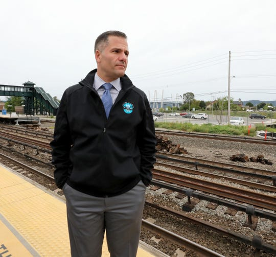 Marc Molinaro, the Dutchess County Executive and a candidate for New York State Governor, is pictured at the Tarrytown train station for a press conference, Sept. 9, 2018.