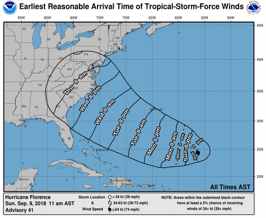 This map shows the earliest reasonable arrival time of tropical storm force winds generated by Hurricane Florence.