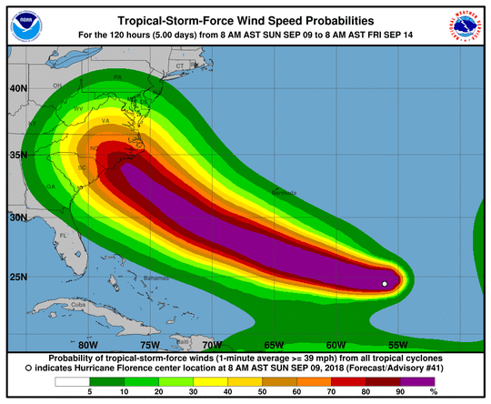 Tropical Storm Florence turned into a hurricane Sunday morning and swirled toward the U.S. for what forecasters said could be a direct hit on the Southeast toward the end of the week.