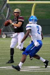 Midwestern State's Layton Rabb threw for three second-half touchdowns against West Florida Saturday and was named the Lone Star Conference Offensive Player of the Week for a second consecutive week.