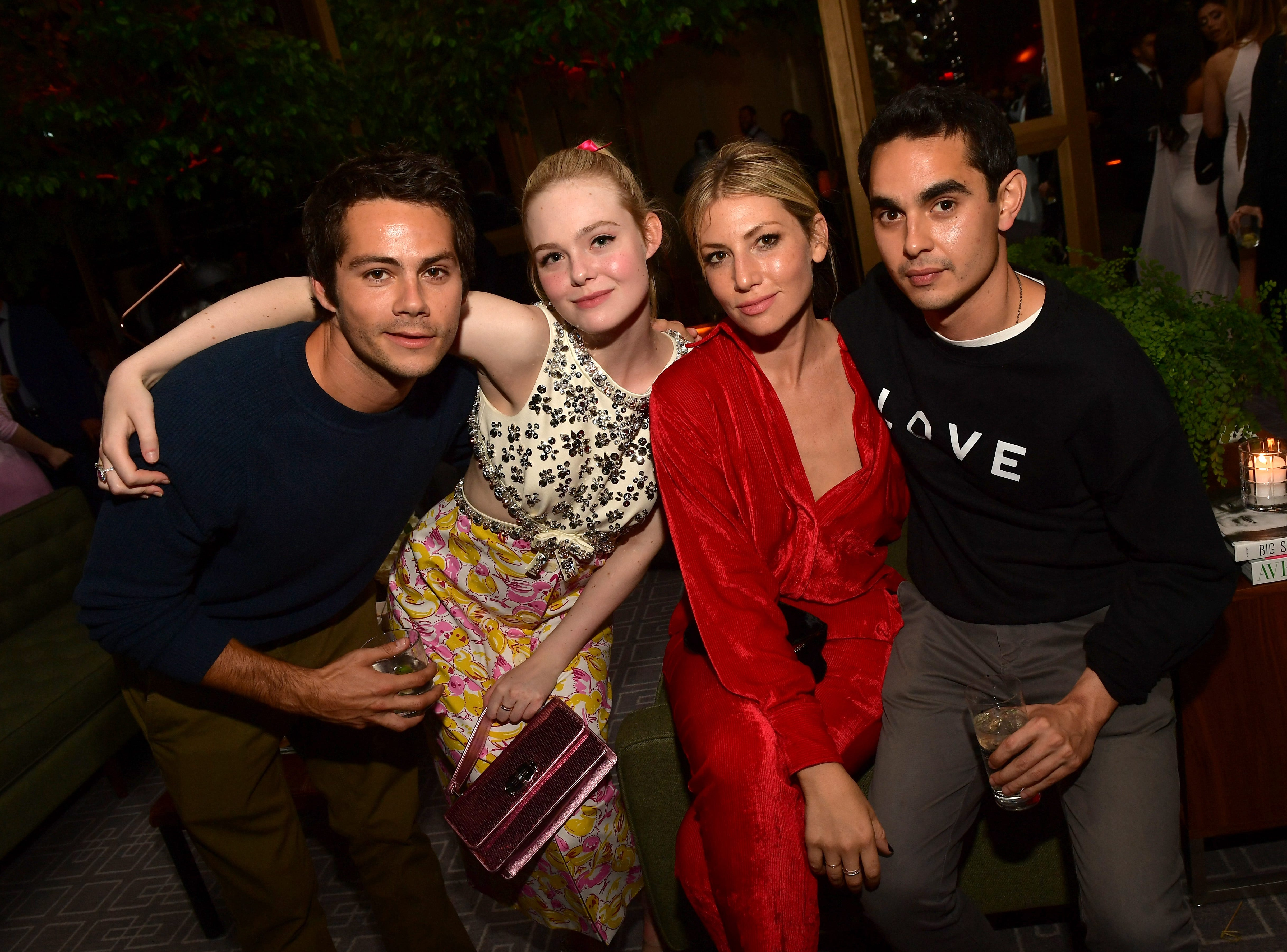 TORONTO, ON - SEPTEMBER 08:  (L-R) Dylan O'Brien, Elle Fanning, Ari Graynor and Max Minghella attend 2018 HFPA and InStyle's TIFF Celebration at the Four Seasons Hotel on September 8, 2018 in Toronto, Canada.  (Photo by Matt Winkelmeyer/Getty Images for InStyle) ORG XMIT: 775214192 ORIG FILE ID: 1029658596