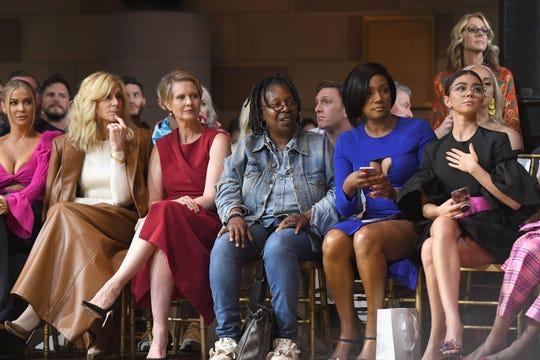 Carmen Electra, Judith Light, Cynthia Nixon, Whoopi Goldberg, Tiffany Haddish and Sarah Hyland sit front row at Christian Siriano's spring/summer 2019 show during New York Fashion Week on Saturday.