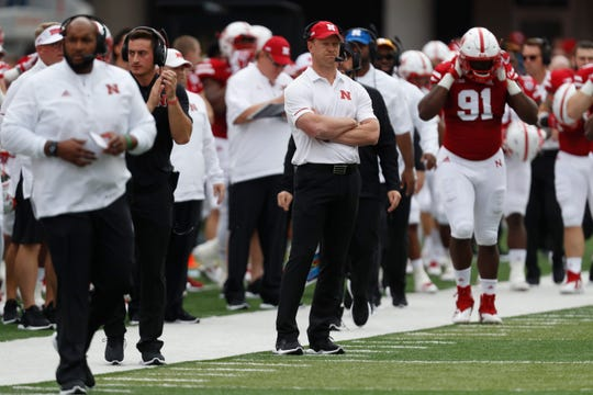 Nebraska coach Scott Frost watches from the sideline during his team's game against Colorado.