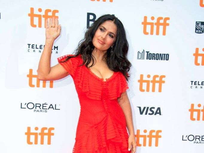Actress Salma Hayek attends the 'The Hummingbird Project' premiere during the Toronto International Film Festival, on September 8, 2018, in Toronto, Ontario, Canada. (Photo by VALERIE MACON / AFP)VALERIE MACON/AFP/Getty Images ORG XMIT: Toronto i ORIG FILE ID: AFP_18Y6F9