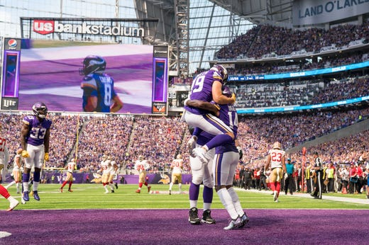 Minnesota Vikings wide receiver Adam Thielen celebrates with wide receiver Stefon Diggs after his touchdown in the second quarter against San Francisco 49ers at U.S. Bank Stadium. - Packers QB Carted Off In Clash With Bears