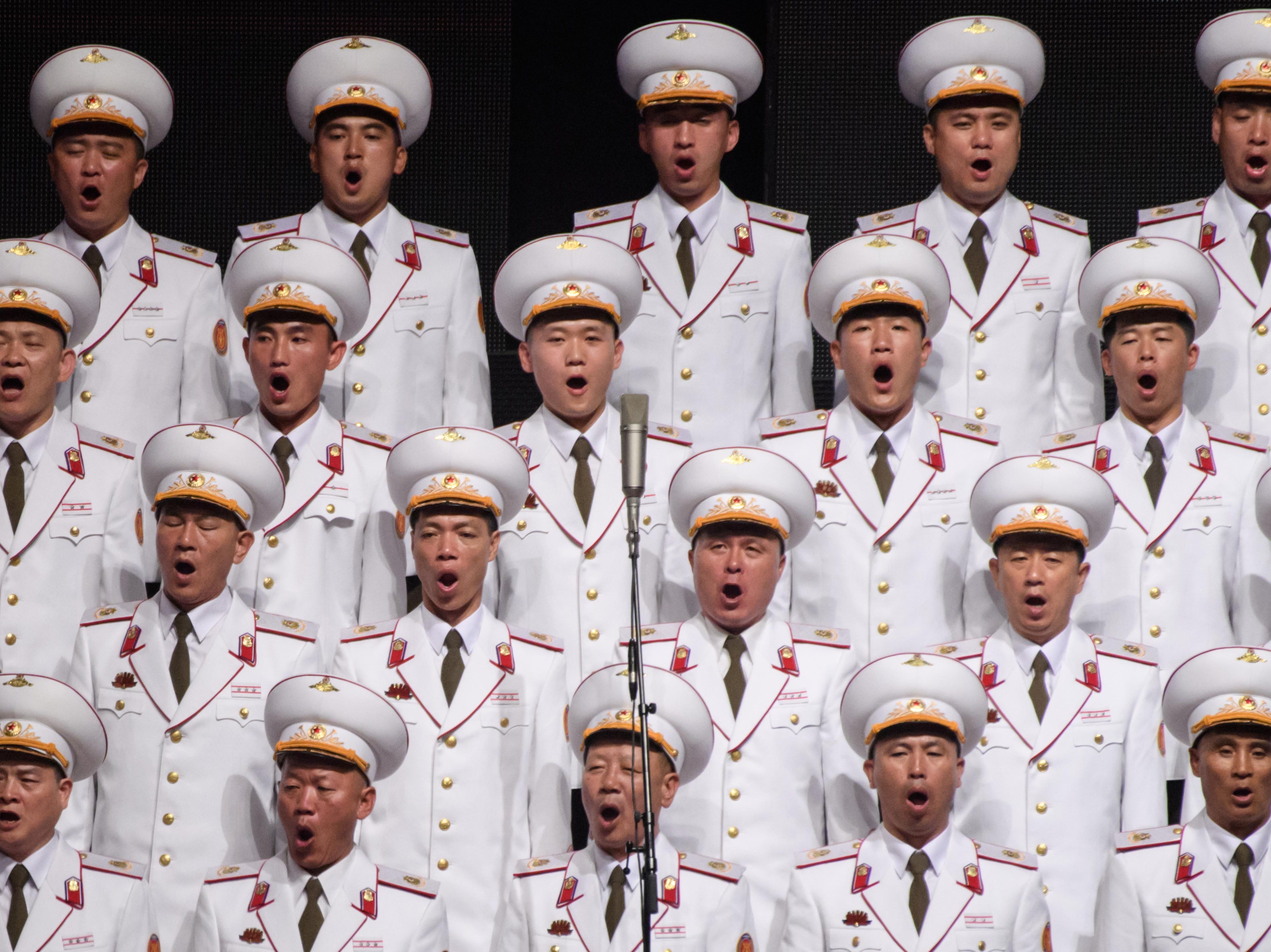 Performers take part in a concert at the Pyongyang Indoor Stadium on Sept. 8, 2018.