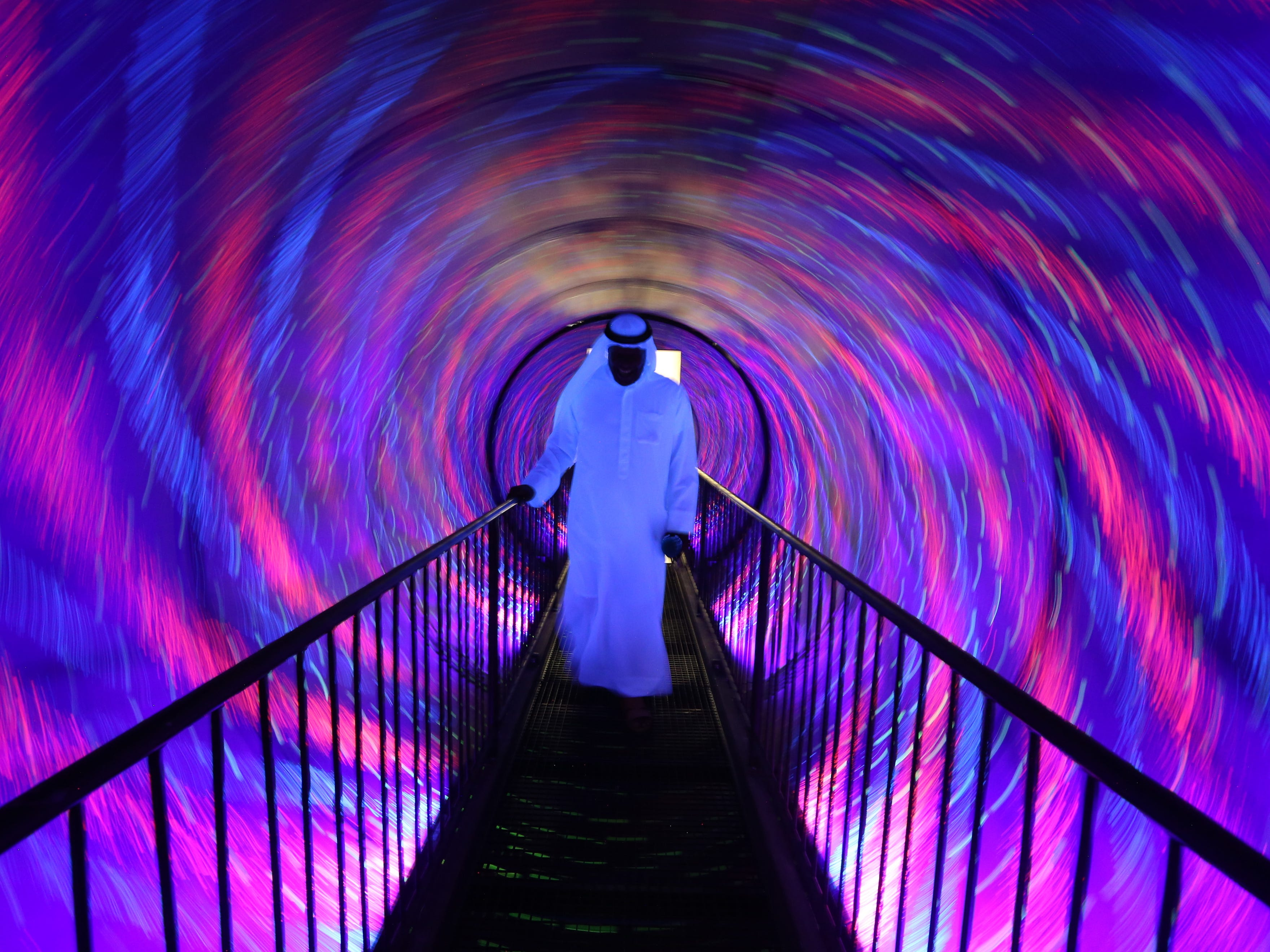 A visitor views artwork at the Museum of Illusions at Al Seef near the Dubai Creek in Gulf emirate of Dubai, United Arab Emirates on Sept. 9, 2018. The museum will open to the public on Sept. 12, 2018, and is featuring more than 80 exhibits of all shapes and sizes.