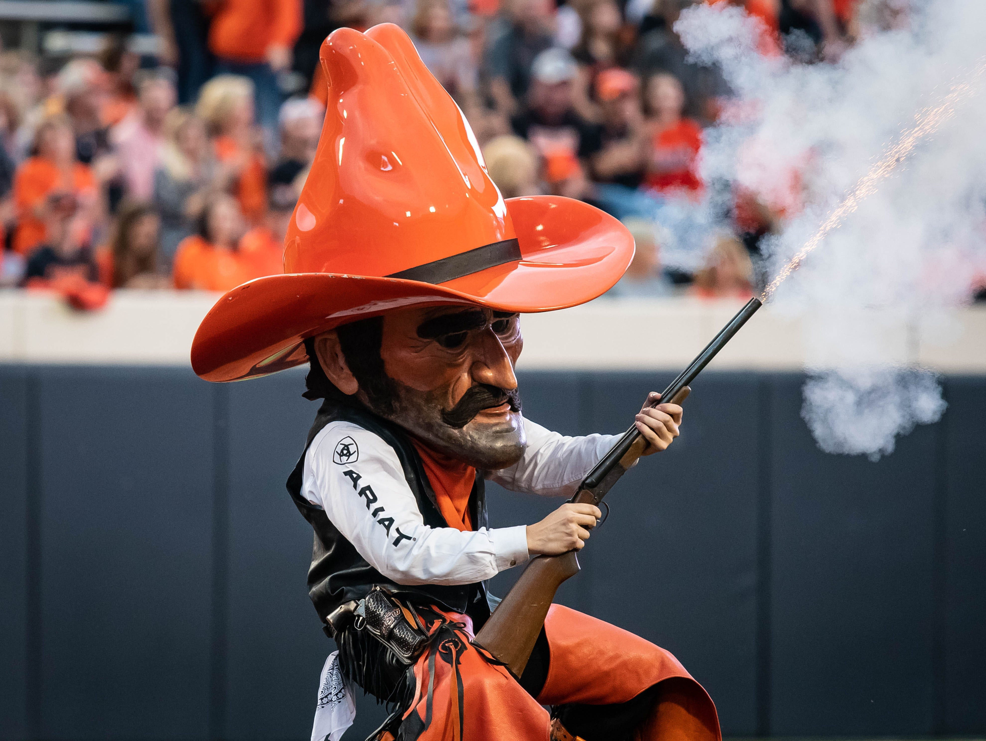 Week 2: Oklahoma State Cowboys mascot Pistol Pete fires his shotgun before the game against the South Alabama Jaguars at Boone Pickens Stadium.