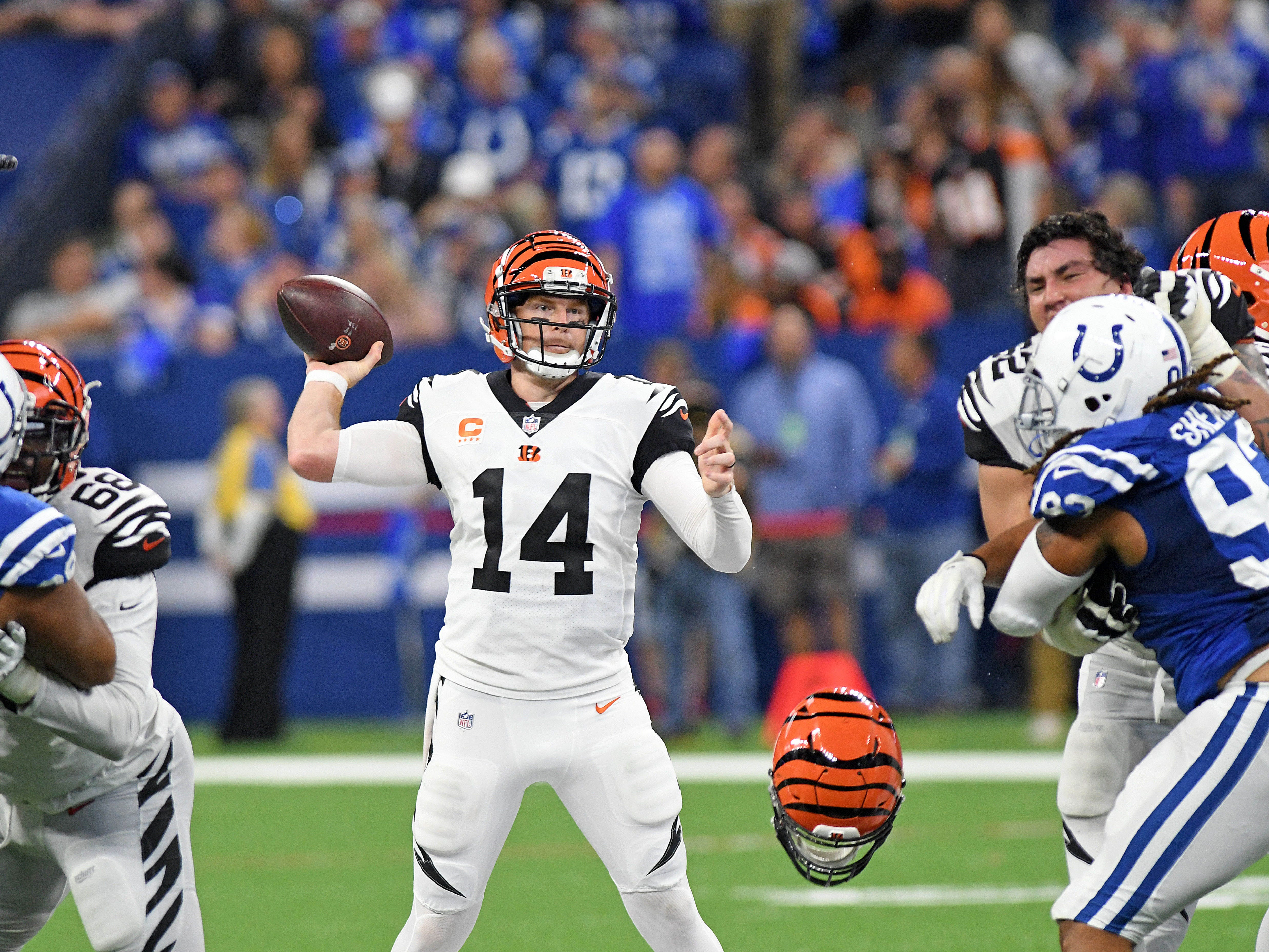 Sep 9, 2018; Indianapolis, IN, USA; Cincinnati Bengals quarterback Andy Dalton (14) drops back to pass in the second half against the Indianapolis Colts at Lucas Oil Stadium. Mandatory Credit: Thomas J. Russo-USA TODAY Sports