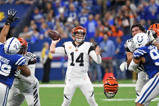 Sep 9, 2018; Indianapolis, IN, USA; Cincinnati Bengals quarterback Andy Dalton (14) drops back to pass in the second half against the Indianapolis Colts at Lucas Oil Stadium. Mandatory Credit: Thomas J. Russo-USA TODAY Sports - Packers QB Carted Off In Clash With Bears