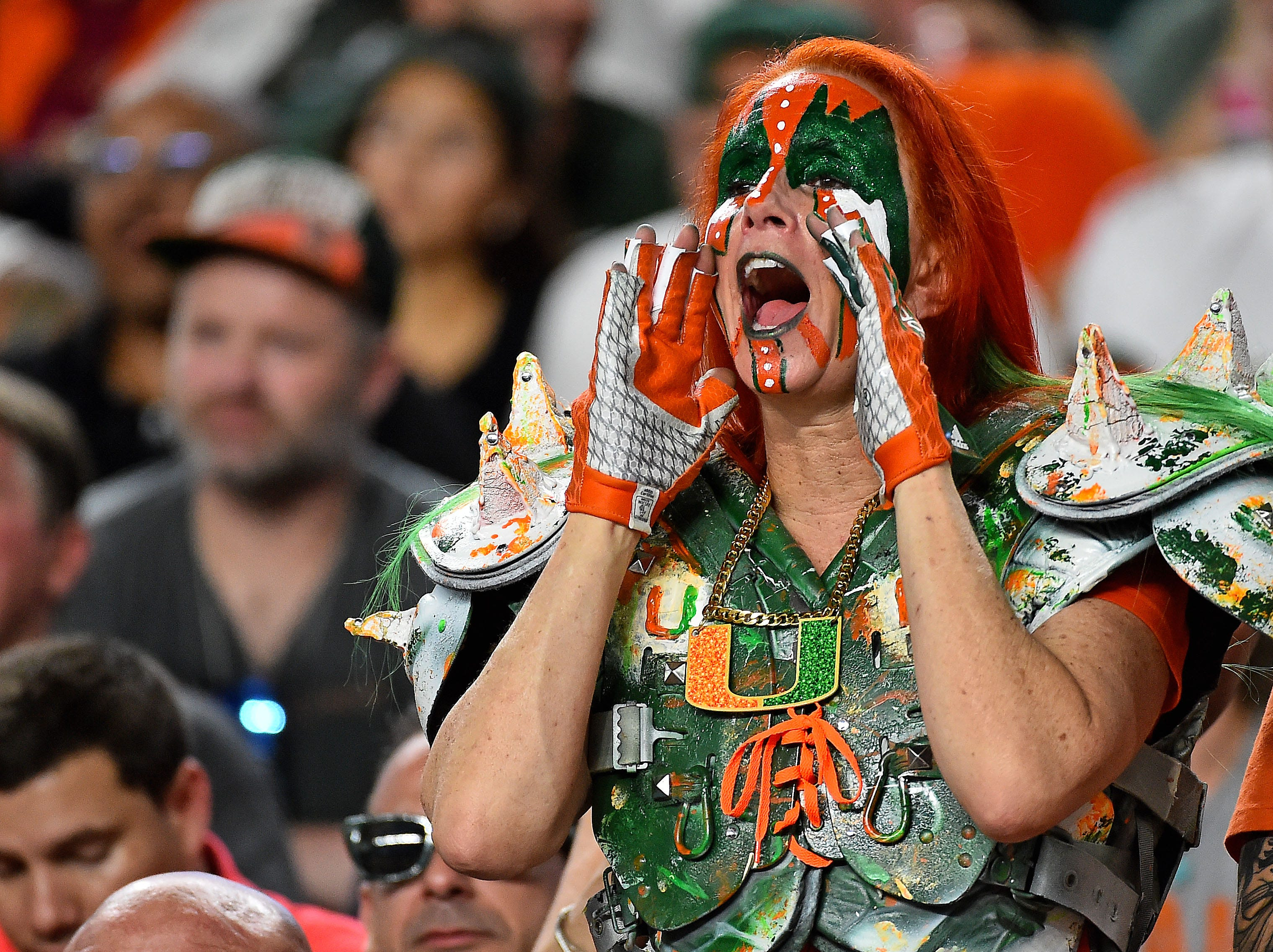 Week 2: A Miami Hurricanes fan cheers during the second half against the Savannah State Tigers at Hard Rock Stadium.