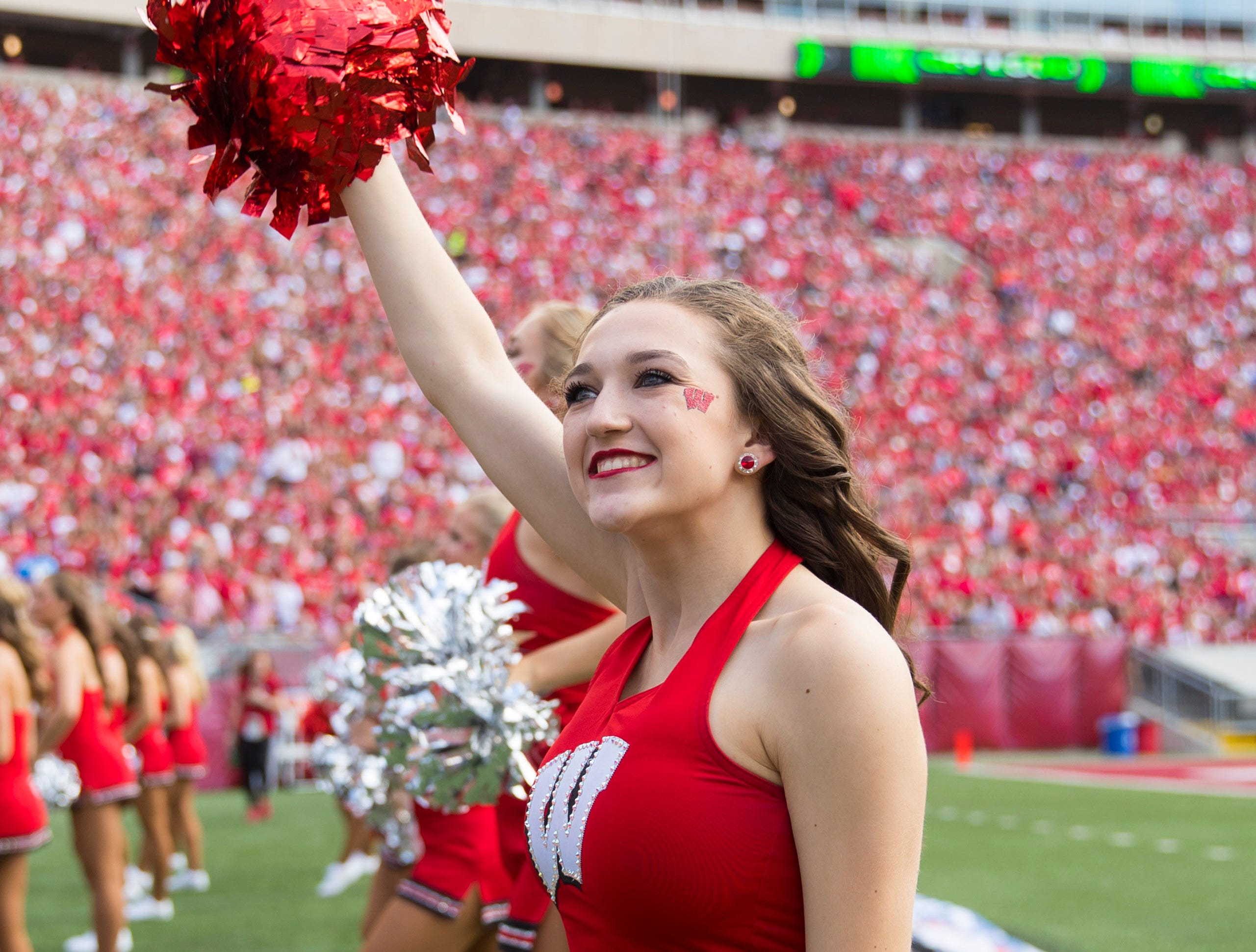 Week 2: Wisconsin Badgers cheerleaders perform during the third quarter against the New Mexico Lobos at Camp Randall Stadium.