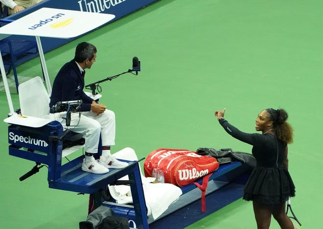 Serena Williams argues with umpire Carlos Ramos at the U.S. Open, Sept. 8, 2018, New York.