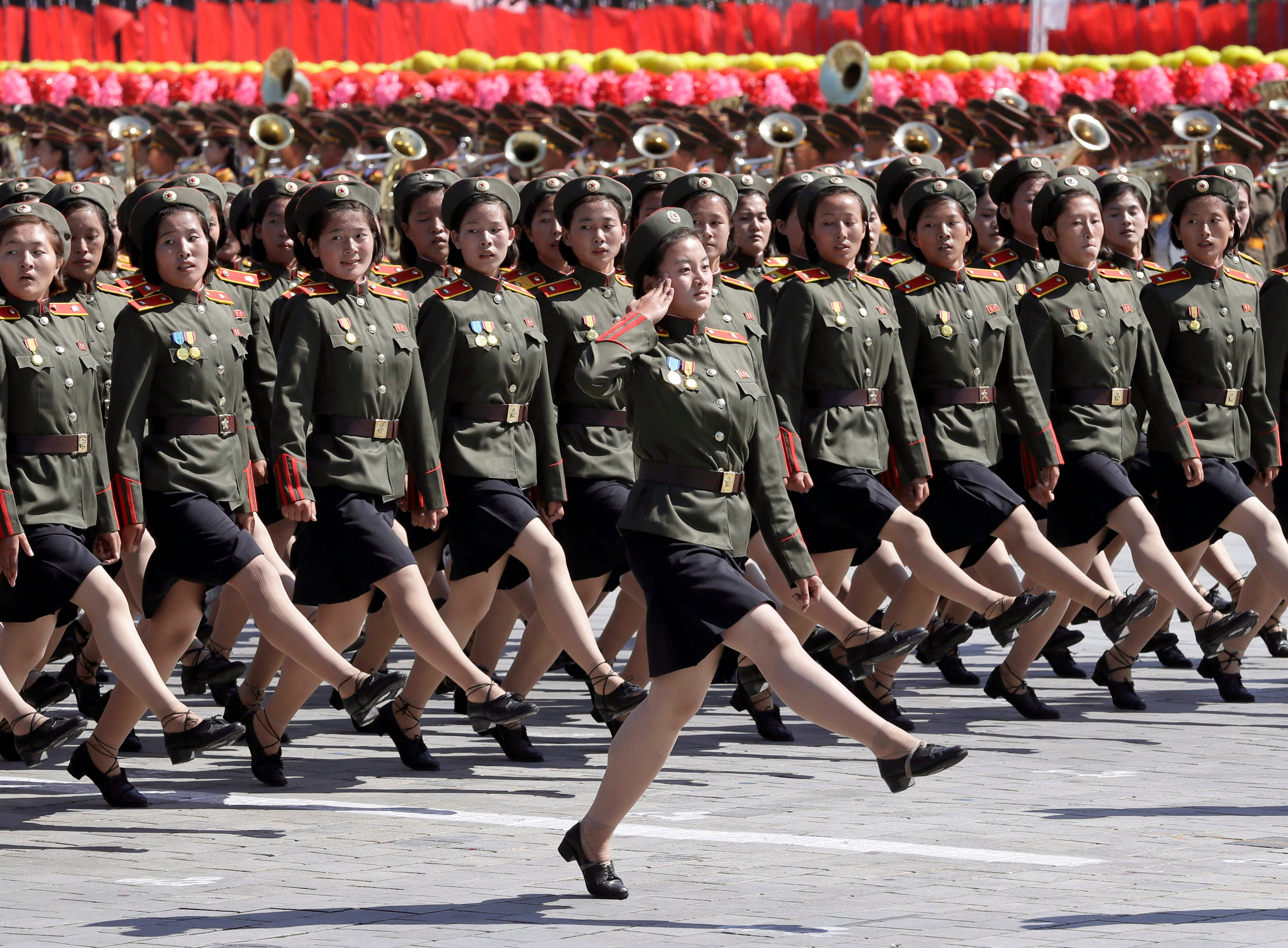 North Korean soldiers march during a parade for the 70th anniversary of North Korea's founding day in Pyongyang, North Korea, Sunday, Sept. 9, 2018. North Korea staged a major military parade, huge rallies and will revive its iconic mass games on Sunday to mark its 70th anniversary as a nation.