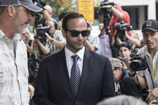 Former Trump campaign aide George Papadopoulos leaves the U.S. District Court after his sentencing hearing on Sept. 7, 2018, in Washington, D.C.