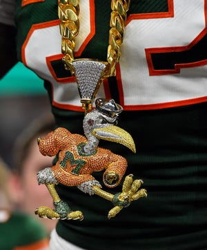 A detailed view of the new Miami Hurricanes Turnover Chain.