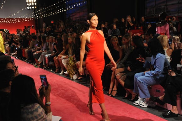 NEW YORK, NY - SEPTEMBER 08: Model Lily Aldridge walks the runway for the Brandon Maxwell fashion show during New York Fashion Week at Classic Car Club on September 8, 2018 in New York City.  (Photo by Desiree Navarro/WireImage) ORG XMIT: 775225031 ORIG FILE ID: 1029588586