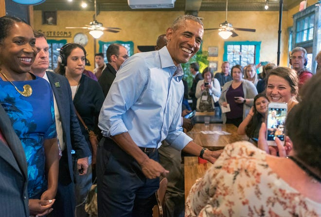 Former President Barack Obama at Caffe Paradiso in Urbana, Illinois, on Sept. 7, 2018.