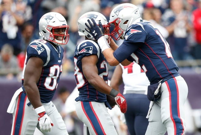 New England Patriots quarterback Tom Brady (12) congratulates running back James White (28) after a touchdown during the second quarter against the Houston Texans at Gillette Stadium.