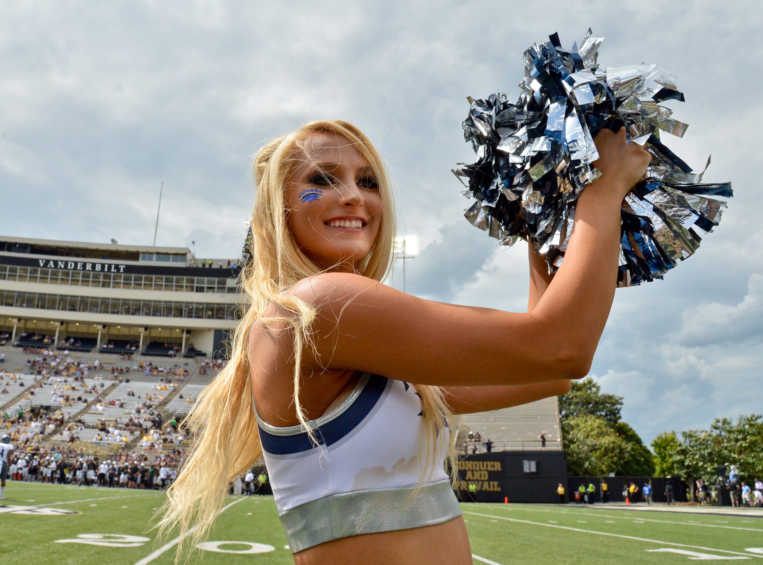 Week 2: A Nevada Wolf Pack cheerleader performs during the second half against the Vanderbilt Commodores at Vanderbilt Stadium.